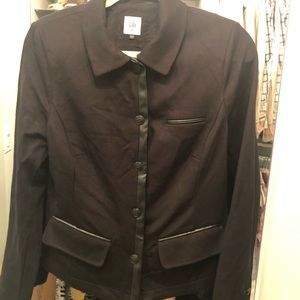 Cabi black jacket with faux leather trim